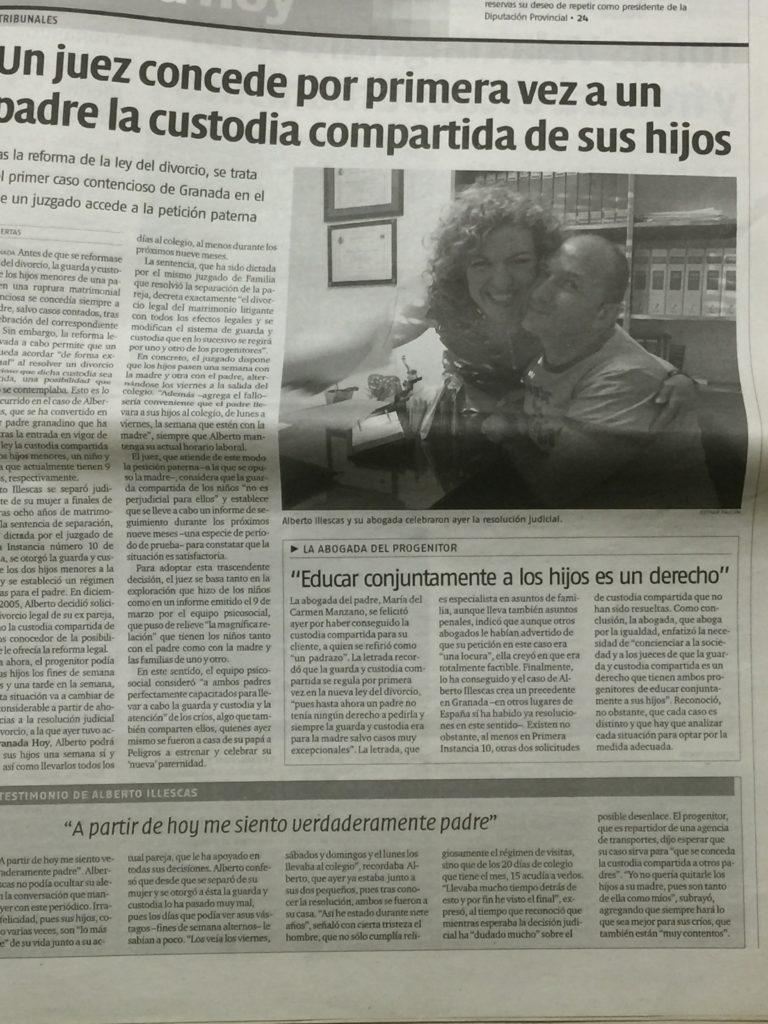 Primera Custodia Compartida Granada con  la Ley 15/2005 de 08 de Julio.