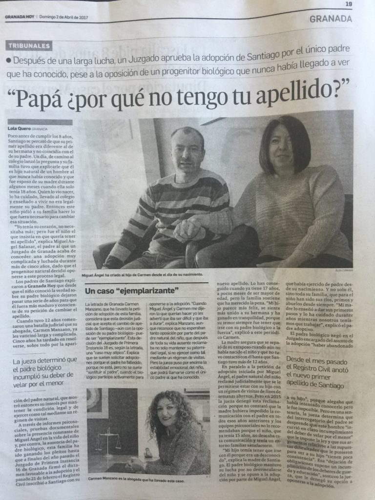 """Noticia de Prensa. """"Papá ¿por qué no tengo tu apellido?."""